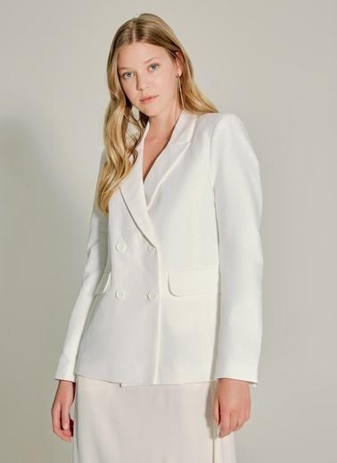 NGSTYLE Çift Düğmeli Keten Ceket Beyaz